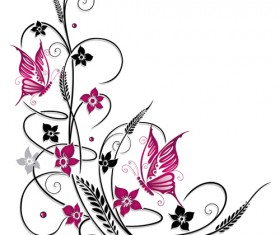 Ornament floral with butterflies vectors material 02