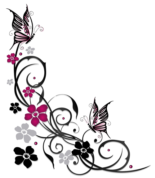 Ornament floral with butterflies vectors material