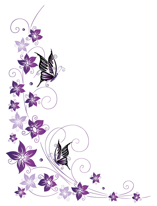Ornament Floral With Butterflies Vectors Material 05 Free