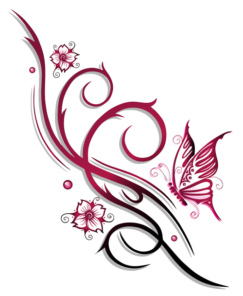 ornament floral with butterflies vectors material 11 free