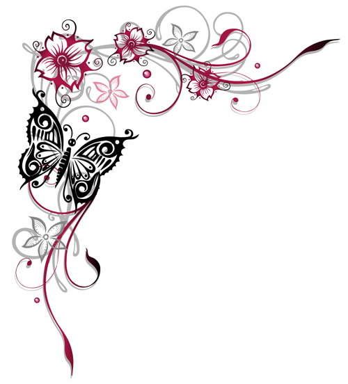 Ornament floral with butterflies vectors material 13 - Vector Floral ...