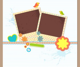 Photo frame with card vector