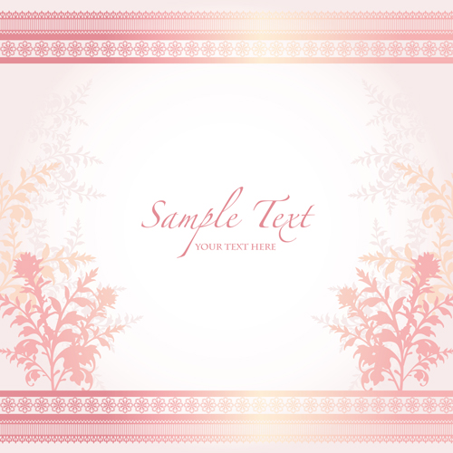 Pink Border With Floral Background Vector 06 Free Download