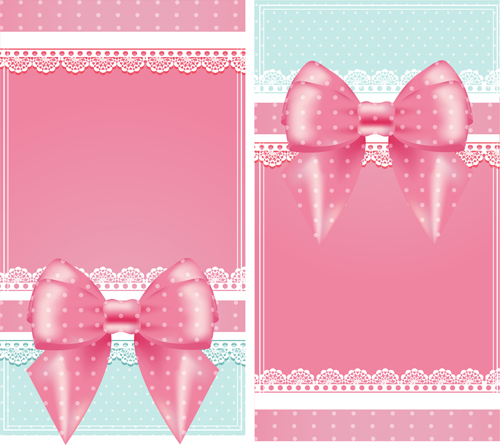 pink bow card with lace vector 02