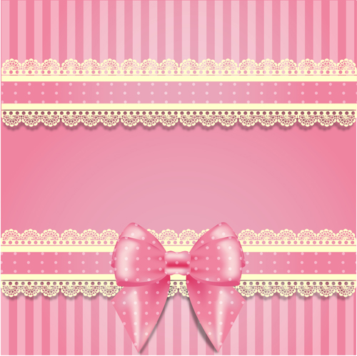 Pink Bow Card With Lace Vector 04 Vector Card Free Download