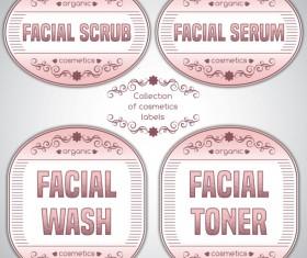 Pink cosmetics labels vector 02