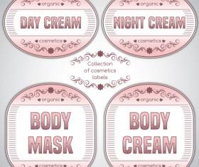 Pink cosmetics labels vector 03