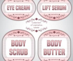 Pink cosmetics labels vector 04