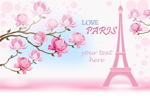 Pink Flower With Paris Background Vector 01 Free Download