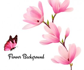Pink magnolia flower background vector 02