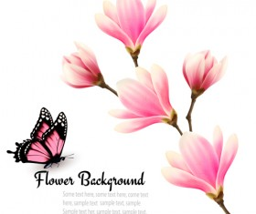 Pink magnolia flower background vector 03