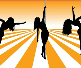 Pole dancer silhouetter vector material 05