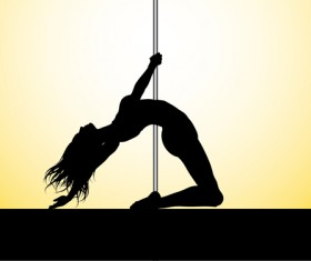 Pole dancer silhouetter vector material 06