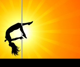 Pole dancer silhouetter vector material 08