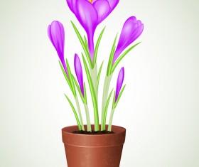 Purple flower and flowerpot vector