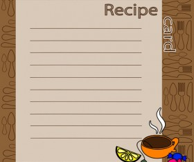 Recipe card with tableware pattern vector 02