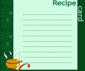 Recipe card with tableware pattern vector 03
