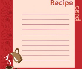 Recipe card with tableware pattern vector 04