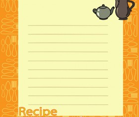 Recipe card with tableware pattern vector 06
