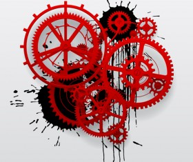 Red gear wheels with grunge background vector