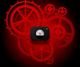 Red gear wheels with meter vector