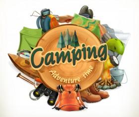 Retro camping labels vectors 01