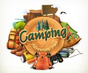 Retro camping labels vectors 02