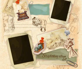 Retro photo frame with vintage background
