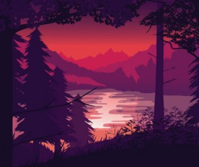 River with forest and mountains scenery vector 02