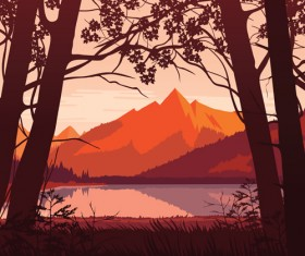 River with forest and mountains scenery vector 03
