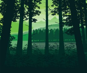 River with forest and mountains scenery vector 04