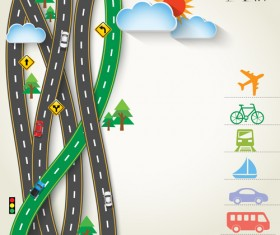 Road trip background vector material 02