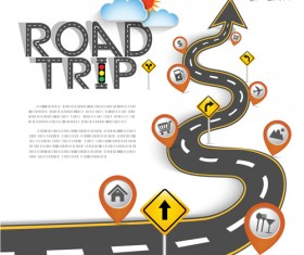 Road trip background vector material 05