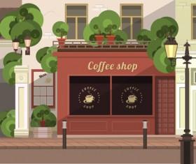 Roadside cafe vector template 01