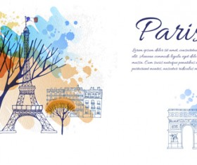 Romantic paris with watercolor tree vector background