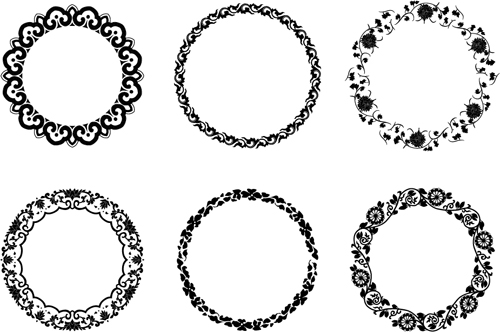 Round floral frame vectors free download