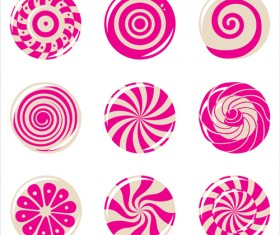 Round pink candies icons