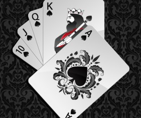 Royal straight flush playing cards vector 03