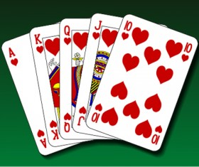 Royal straight flush playing cards vector 06