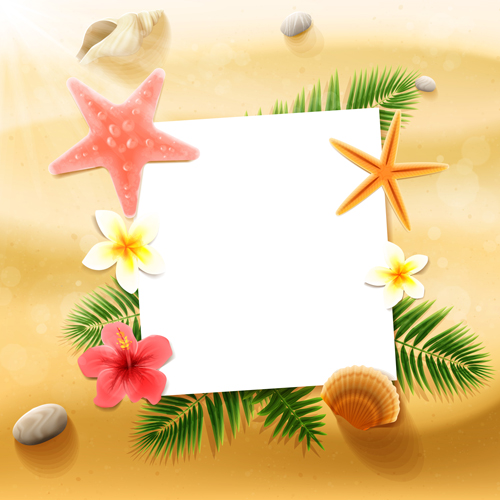 Shell with flower summer beach background vector 01