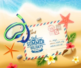 Shell with flower summer beach background vector 02