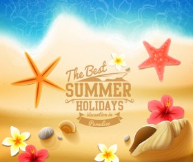 Shell with flower summer beach background vector 03