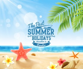 Shell with flower summer beach background vector 04