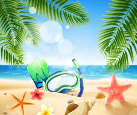 Shell with flower summer beach background vector 05