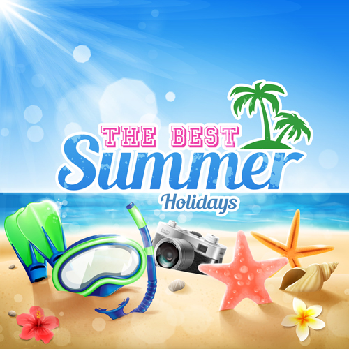 Shell With Flower Summer Beach Background Vector 06