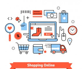 Shopping online business template vector 01