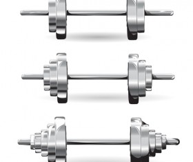 Silver dumbbell illustration vector 02