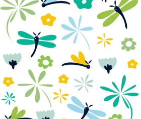 Simple dragonfly seamless pattern vector 01