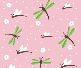 Simple dragonfly seamless pattern vector 02