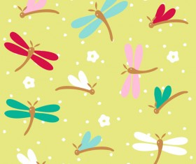 Simple dragonfly seamless pattern vector 04